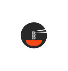 Ramen soup round icon in minimal style japanese vector