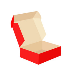 red cardboard open box isolated on white vector image