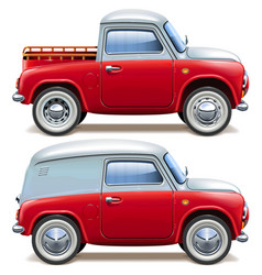 red pickup truck and minivan vector image