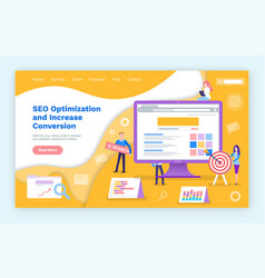 seo optimization increase of web search conversion vector image