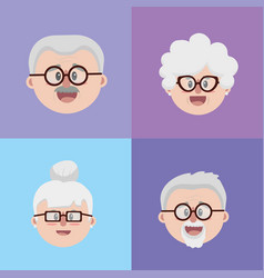 Set grandparents couples face with glasses and vector