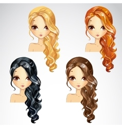 Set Of Curly Long Hair vector image