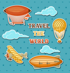 set of retro air transport vintage aerostat vector image