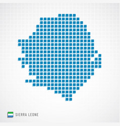 sierra leone map and flag icon vector image