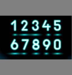Simply set glowing neon numbers for design on vector