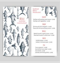 sketch - seafood card menu vector image