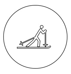 skier black icon outline in circle image vector image