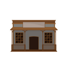 small western house with wood porch and blank vector image