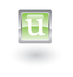 square glossy icon letter u vector image