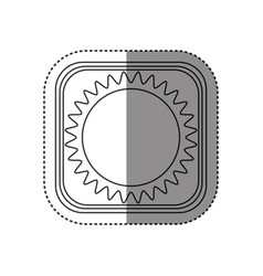 Sticker of monochrome rounded square with drawing vector