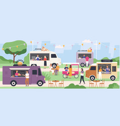 street food festival people eat at summer outdoor vector image
