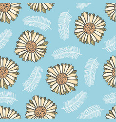 summer floral pattern with yellow flowers vector image