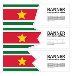 Suriname flag banners collection independence day vector