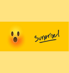 surprise 3d yellow emoji banner text quote concept vector image