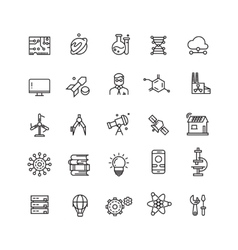 Technologies and science line icons vector image