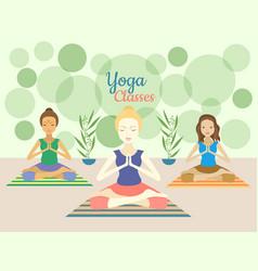 three beautiful women practicing yoga exercises in vector image