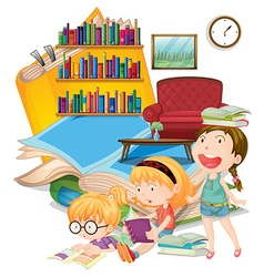 Three girls reading books together vector