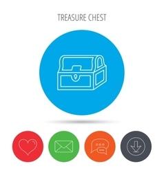 Treasure chest icon Piratic treasury sign vector image