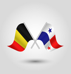 Two crossed belgian and panamamian flags vector