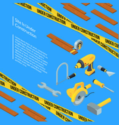 under construction tools isometric icons on vector image