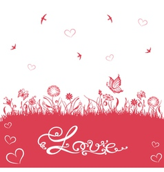 Valentines day wedding silhouettes vector
