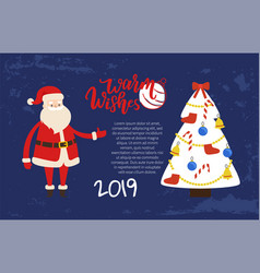 warm wishes greeting card 2019 new year holiday vector image