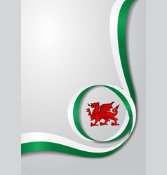 Welsh flag wavy background vector