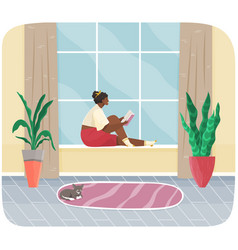 Young woman sitting on windowsill at home looking vector