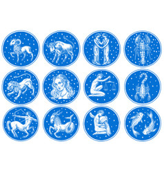 zodiac icons astrology horoscope with signs vector image