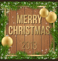 christmas card fir tree ball wooden background vector image