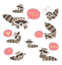 Collection of funny raccoons vector image vector image