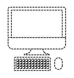 desktop computer icon in monochrome dotted vector image