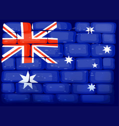 flag of australia painted on wall vector image vector image