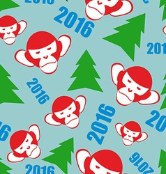Monkey and a Christmas tree New year 2016 seamless vector image