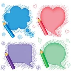 Speech bubbles and pencils vector image