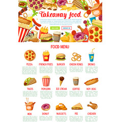 fast food restaurant menu web banner design vector image vector image