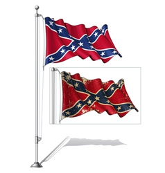 Flag Pole Confederate Rebel vector image vector image