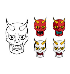 Hanya mask evil ghost face in flat vector