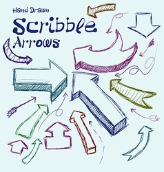 Set of scribble arrows hand-drawn on a light vector image