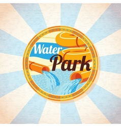 Water park tubes with pool Retro background vector image vector image