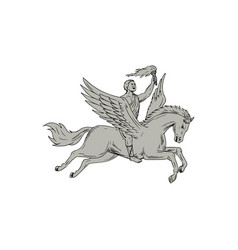 bellerophon riding pegasus holding torch drawing vector image vector image