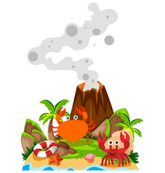 crabs and volcano on island vector image