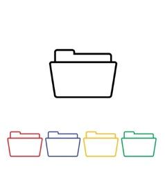 Flat simple folder icon vector image vector image