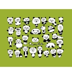 Funny pandas collection sketch for your design vector image