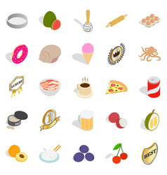 grocery shopping icons set isometric style vector image