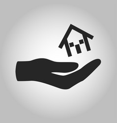 icon hand holding house isolated vector image vector image