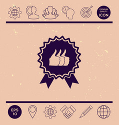 three symbols thumb up gesture - label with vector image
