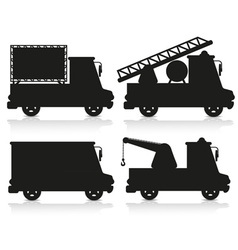 car icon set black silhouette vector image vector image