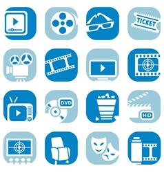 color cinema icon set vector image
