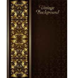 Vintage background with gold filigree border vector image
